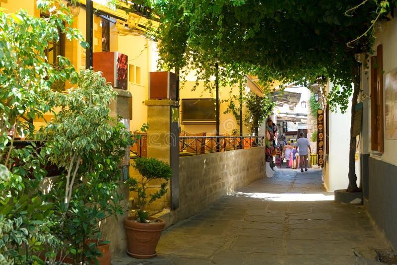 улица lindos стоковое фото