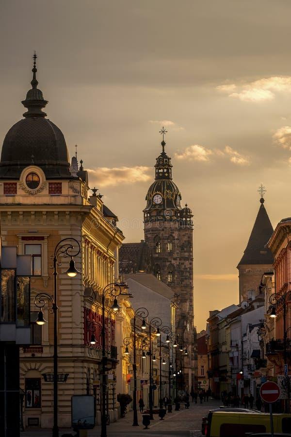 Улица Mlynska собора St Elisabeth стоковые изображения