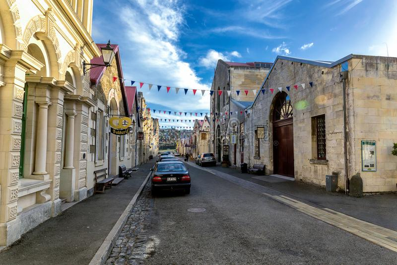 Улица Oamaru, красивый городок на восточном побережье южного острова, Новой Зеландии стоковое изображение