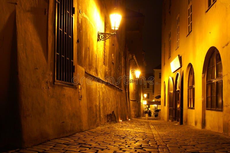 улица prague ночи стоковое фото rf