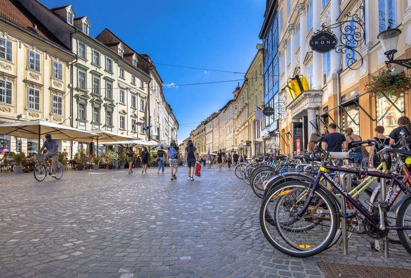 Улица trg Mestni стоковая фотография