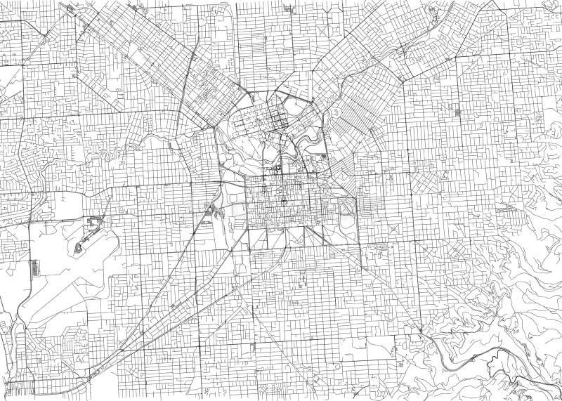 Улицы Аделаиды, карты города, Австралии Карта улицы иллюстрация вектора