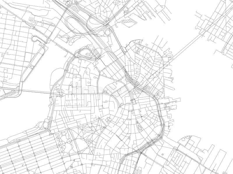 Улицы Бостона, карты города, Массачусетса, Соединенных Штатов иллюстрация вектора