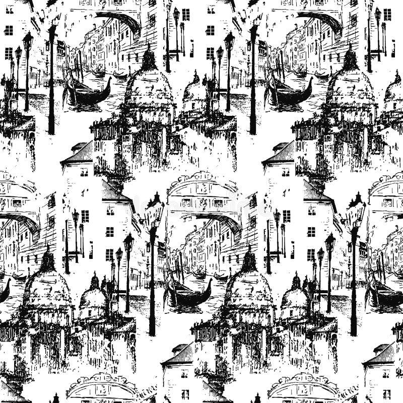 Улицы в Венеции Италии с гондолой E иллюстрация вектора