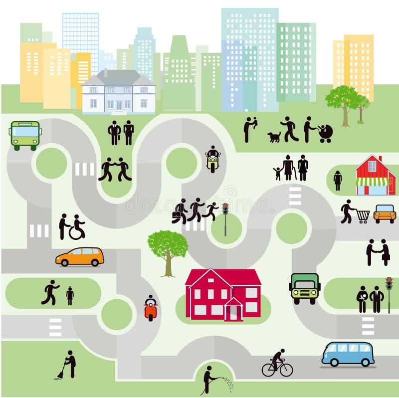 Улицы города с пешеходами и движением иллюстрация штока