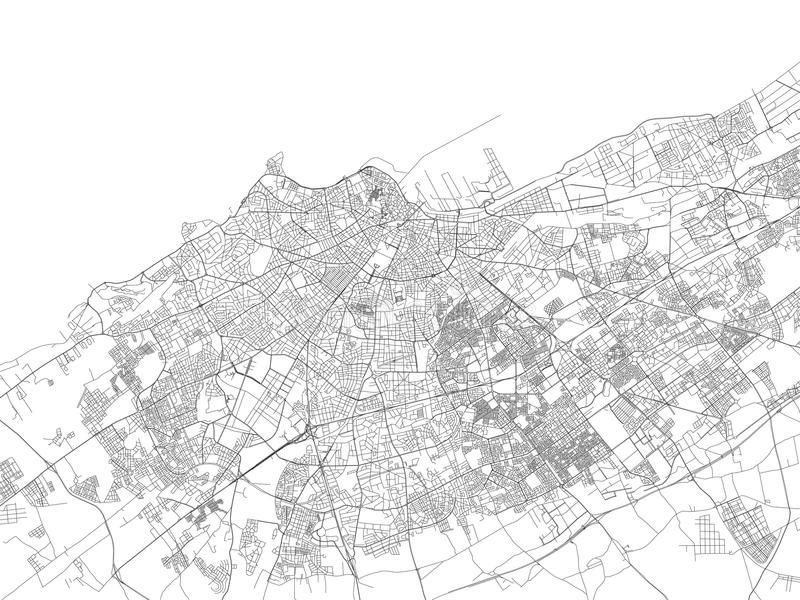 Улицы Касабланки, карты города, Марокко иллюстрация штока