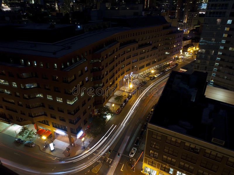 улицы ночи boston стоковые фото