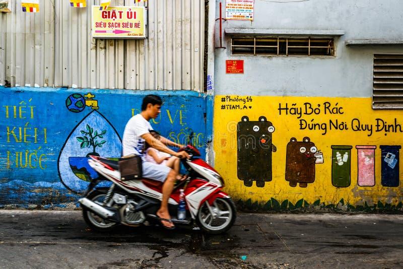Улиц-жизнь, рынок Xom Chieu, Сайгон, к югу от Вьетнама стоковое изображение