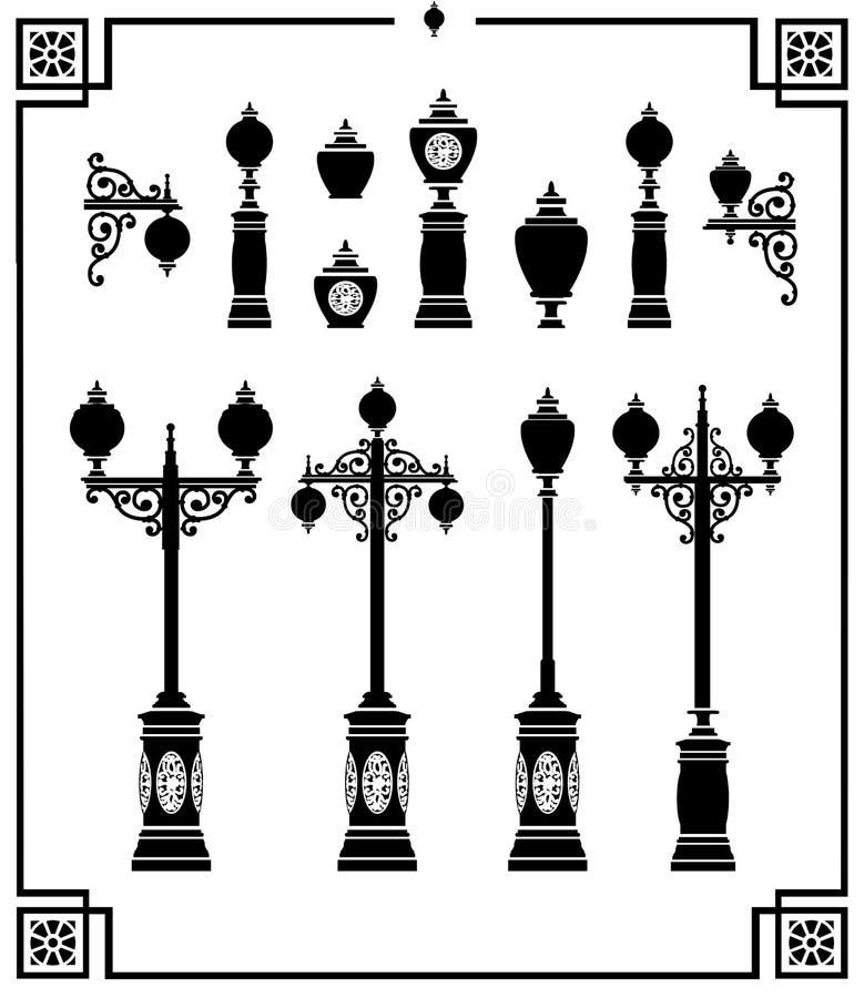 Уличные фонари иллюстрация вектора
