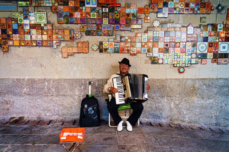 Уличный исполнитель в Cinqueterre, Италии стоковое изображение rf