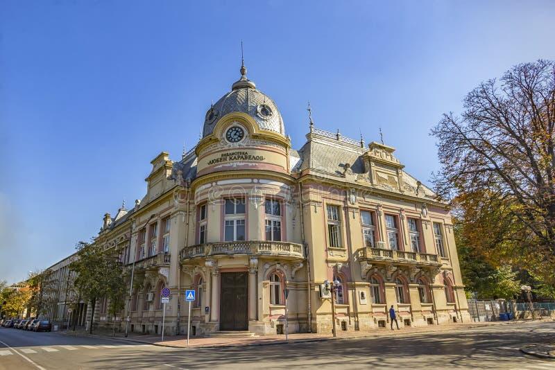 Уловка, Болгария - 21-ое октября 2017: Старая библиотека города стоковое фото
