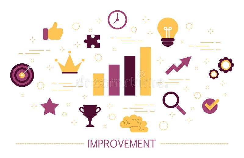 Улучшение дела, личное развитие и концепция прогресса иллюстрация штока
