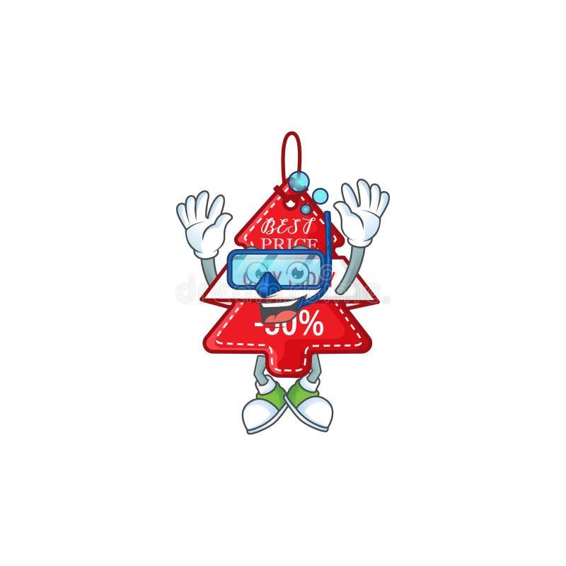 Улыбающиеся christmas лучший ценник мультипликационный стиль в очках для дайвинга иллюстрация вектора