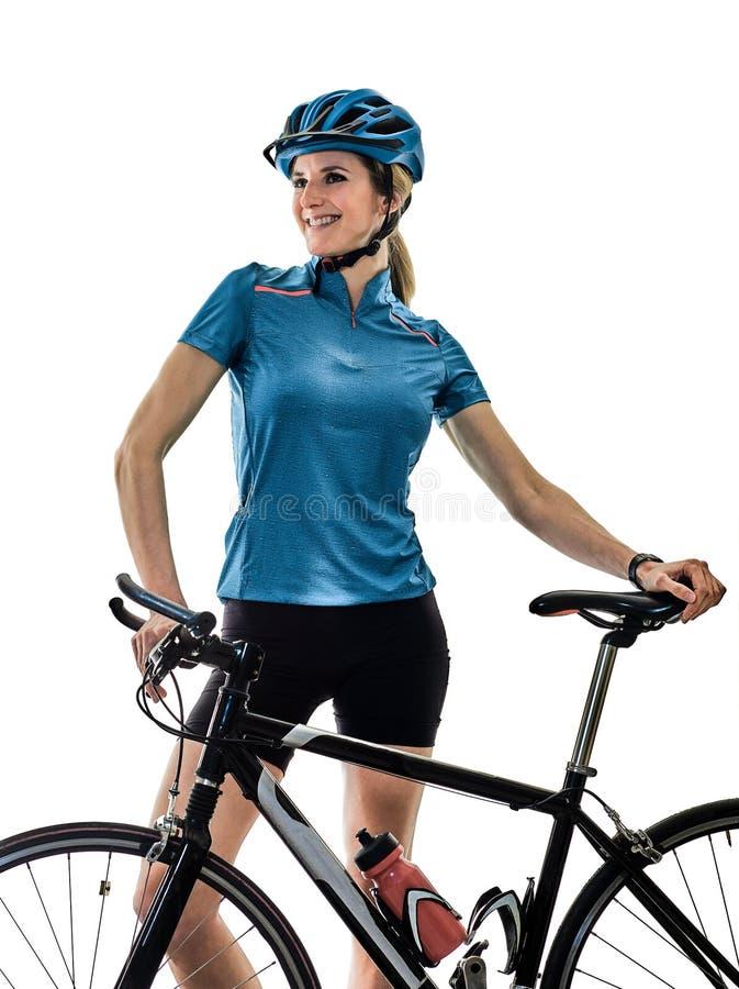 Улыбка положения предпосылки велосипеда велосипедиста задействуя ехать изолированная женщиной белая стоковое фото