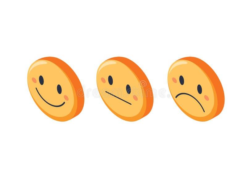 Улыбка смотрит на комплект обратной связи оценки равновеликий, изолированную иллюстрацию вектора Различный smiley выражения бесплатная иллюстрация