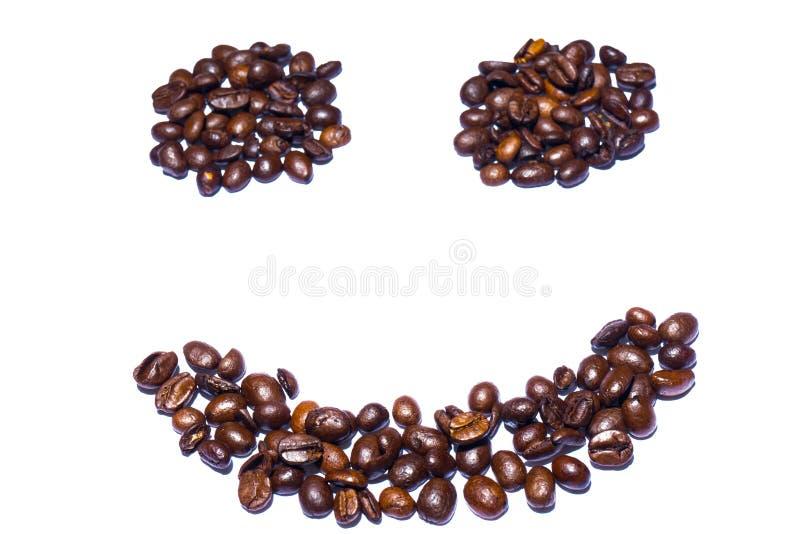 Улыбка сформированная от кофейных зерен стоковая фотография