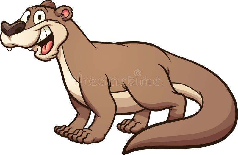 Улыбка счастливого коричневого whit выдры мультфильма большая иллюстрация вектора