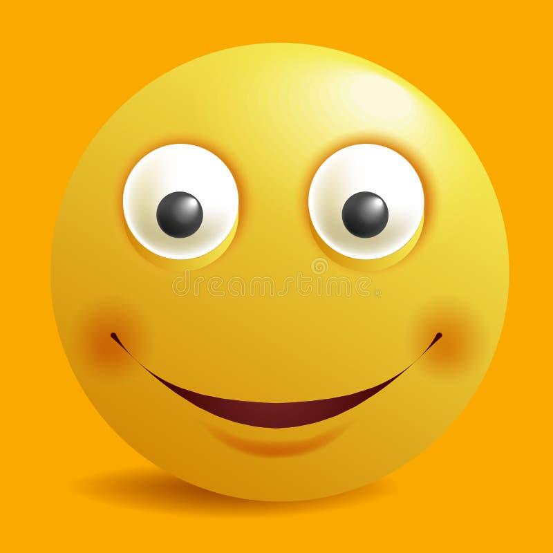 Улыбки желтого цвета emoji смайлика smiley шаржа конструктора улыбки vector дизайн значка плоский иллюстрация штока