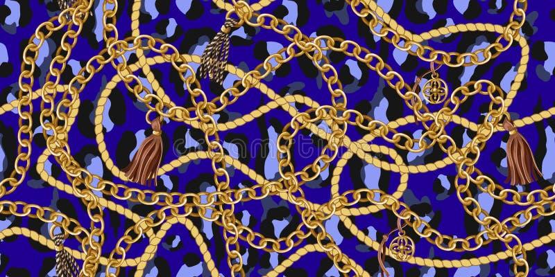Ультрамодная безшовная картина с цепями золота и веревочка на голубой коже леопарда вектор иллюстрация вектора