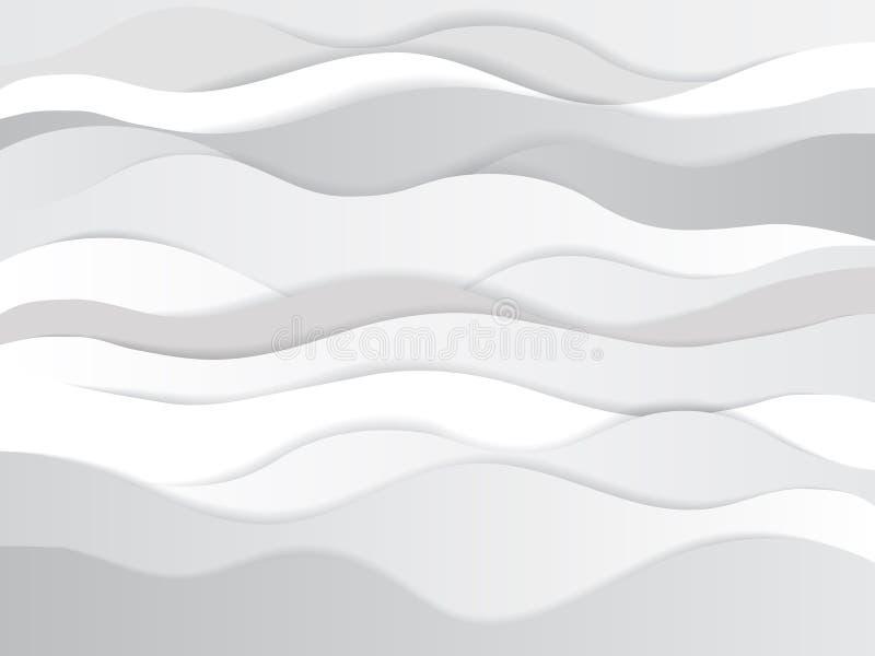 Ультрамодная бумага отрезала слои предпосылки влияния 3d серые Черно-белые изогнутые волны и линии Textur концепции конспекта Pap иллюстрация штока