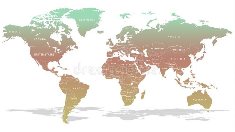 Ультрамодная карта глобуса в закоптелых красных & голубых цветах иллюстрация вектора