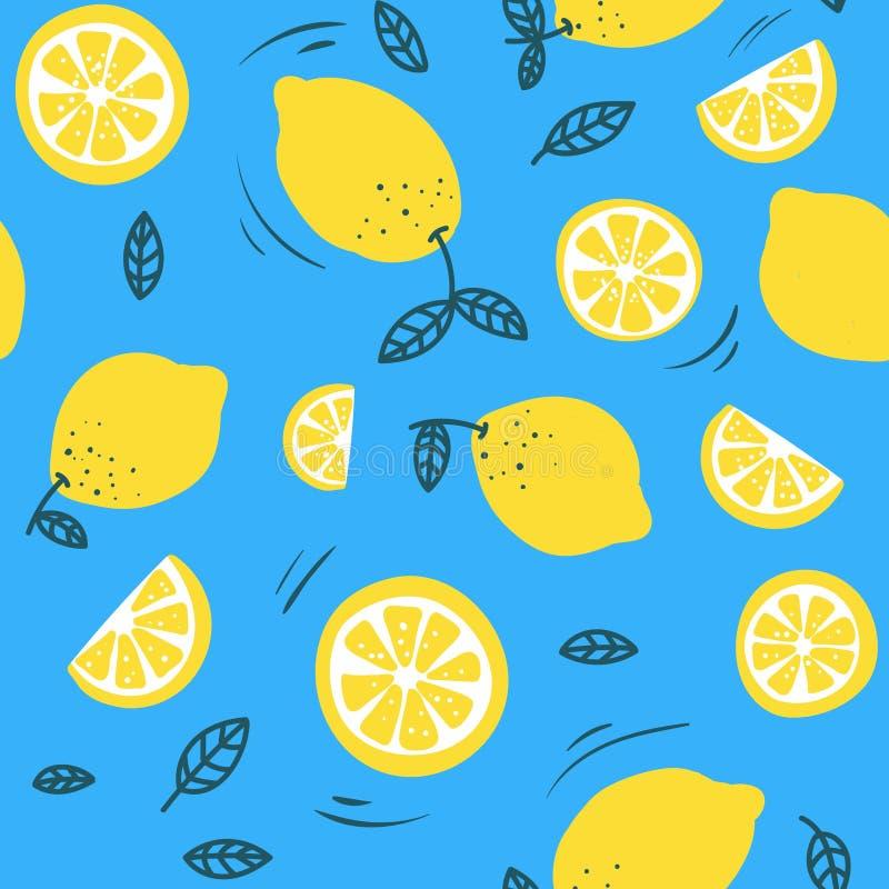 Ультрамодная картина лета с лимонами и красочной предпосылкой Лимоны руки вычерченные конструируют для ткани, случаев, печатей et иллюстрация вектора
