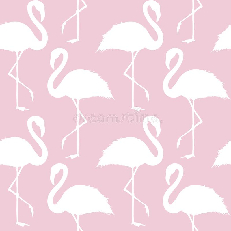 Ультрамодная картина розового и белого фламинго безшовная иллюстрация штока
