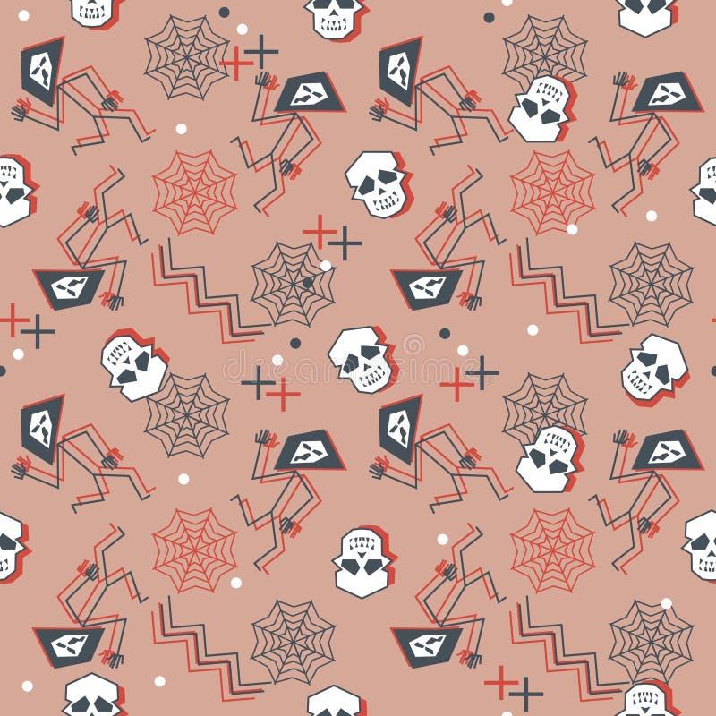 Ультрамодная картина хеллоуина с геометрическими черепами и сетью паука Творческий подросток фасонирует вектор ткани готовый для  иллюстрация штока