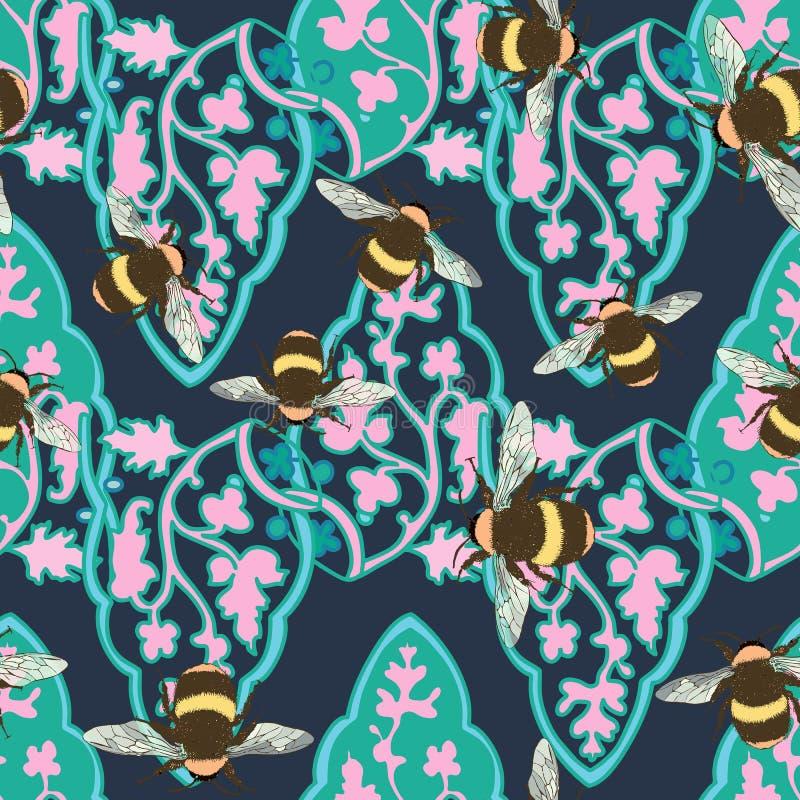 Ультрамодная пастель много вид цветка сада, ботанический, бабочка, безшовный дизайн картины для моды, ткани, обоев бесплатная иллюстрация