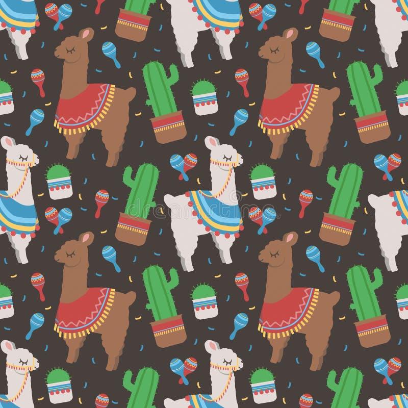 Ультрамодная перуанская лама мультфильма с und кактуса танцует румбу картина шейкера безшовная на темной черной предпосылке иллюстрация вектора