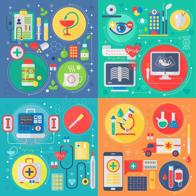 Ультрамодная плоская медицина дизайна и вектор здравоохранения установили значков сети Медицинский квадратный набор концепций бесплатная иллюстрация