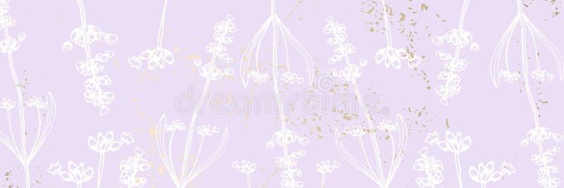 Ультрамодная элегантная флористическая пастель краснеет фон текстуры золота лаванды иллюстрация штока