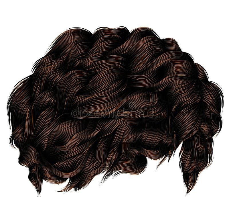 Ультрамодное брюнет темного коричневого цвета вьющиеся волосы средств длина Красота s иллюстрация вектора