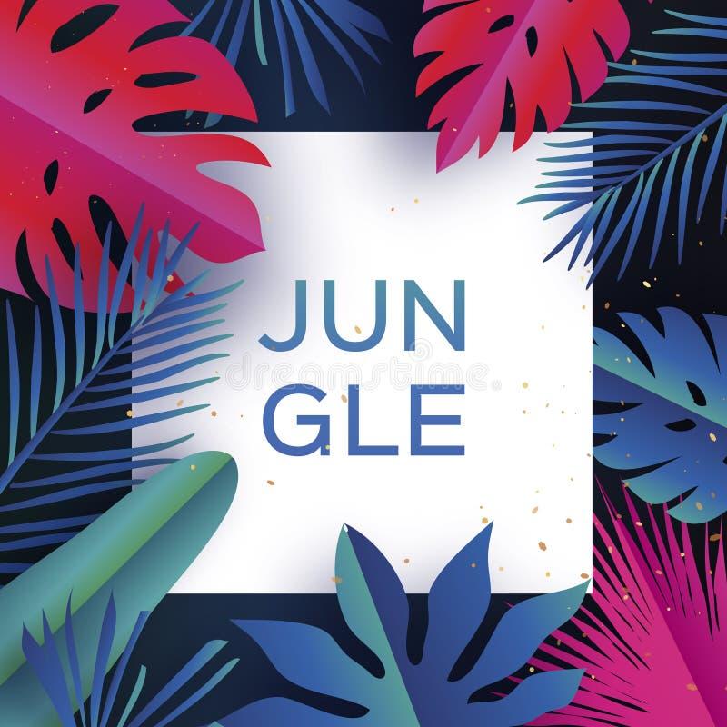 Ультрамодное знамя джунглей Отрезанные бумагой тропические листья ладони, заводы экзотическо гаваиско Космос для текста Квадратна иллюстрация штока
