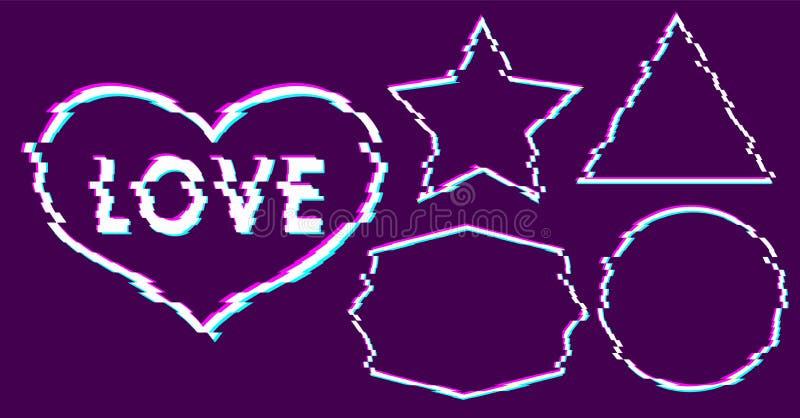 Ультрамодное искусство влияния небольшого затруднения Установите белых рамок пиксела на пурпурной предпосылке с розовым, голубым, иллюстрация штока