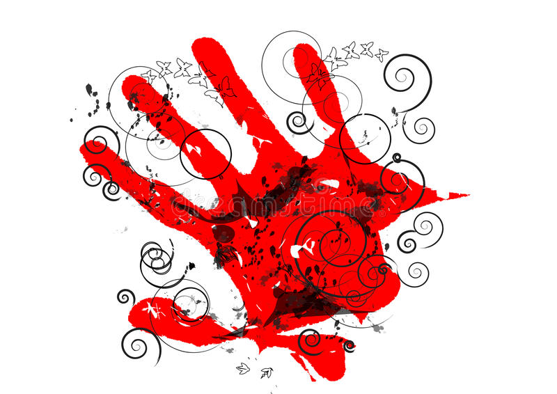 ультрамодное руки красное иллюстрация вектора