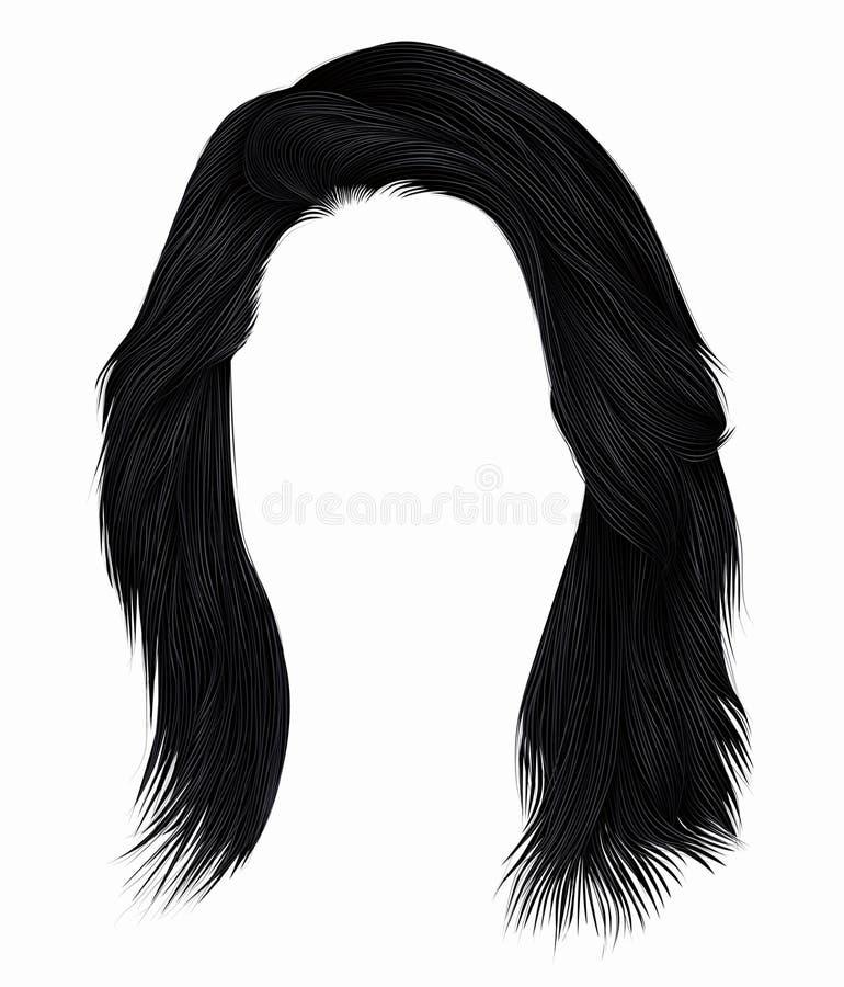 Ультрамодное colo черноты брюнет волос женщины средств длина бесплатная иллюстрация