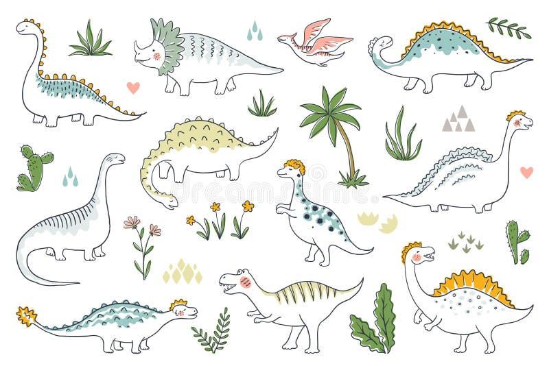 Ультрамодные динозавры doodle Милый набор младенцев dino плана, смешные драконы мультфильма и юрские динозавры Вектор доисторичес иллюстрация вектора