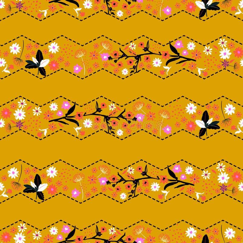Ультрамодные ретро классические gentle seamle цветка свободы нашивки зигзага иллюстрация вектора