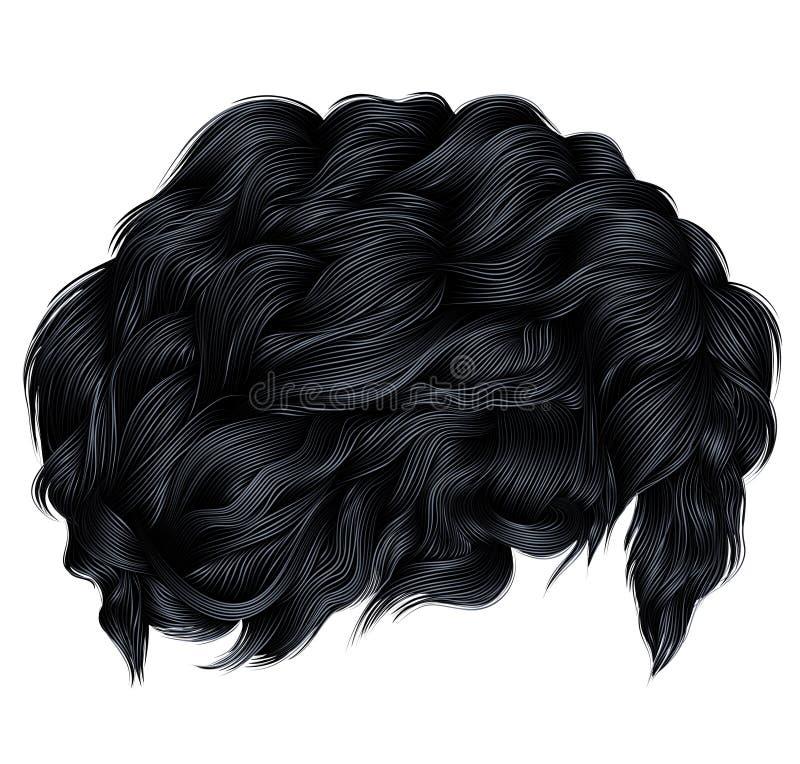 Ультрамодные цвета черноты брюнет вьющиеся волосы средств длина beatnik иллюстрация штока