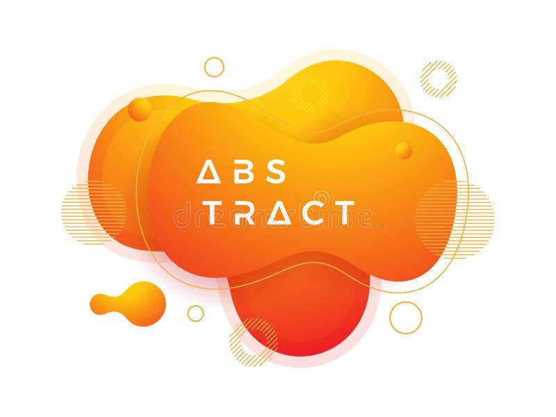 Ультрамодные элементы дизайна жидкого, жидкостного градиента Предпосылка конспекта оранжевая жидкостная иллюстрация вектора
