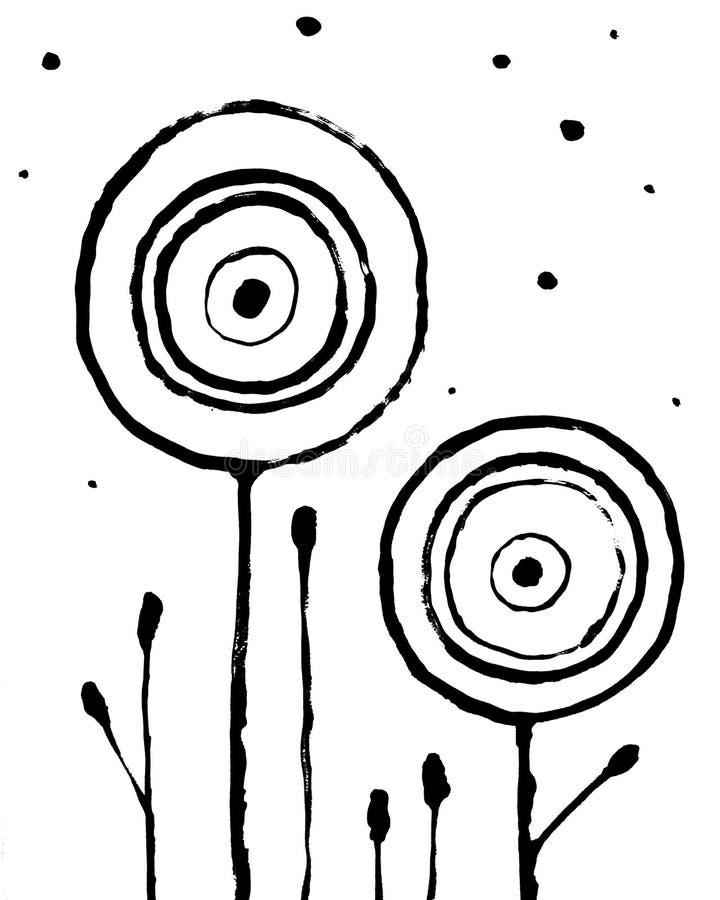 Ультрамодный абстрактный внутренний плакат Цветки руки вычерченные на белой предпосылке Грязный стиль Grunge иллюстрация вектора