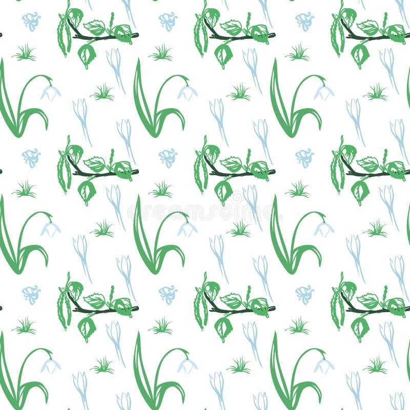 Ультрамодный безшовный цветочный узор в векторе бесплатная иллюстрация