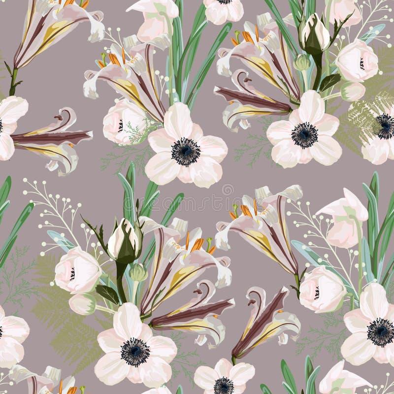 Ультрамодный винтажный цветочный узор с много вид цветков ботанические мотивы разбросали случайное иллюстрация штока