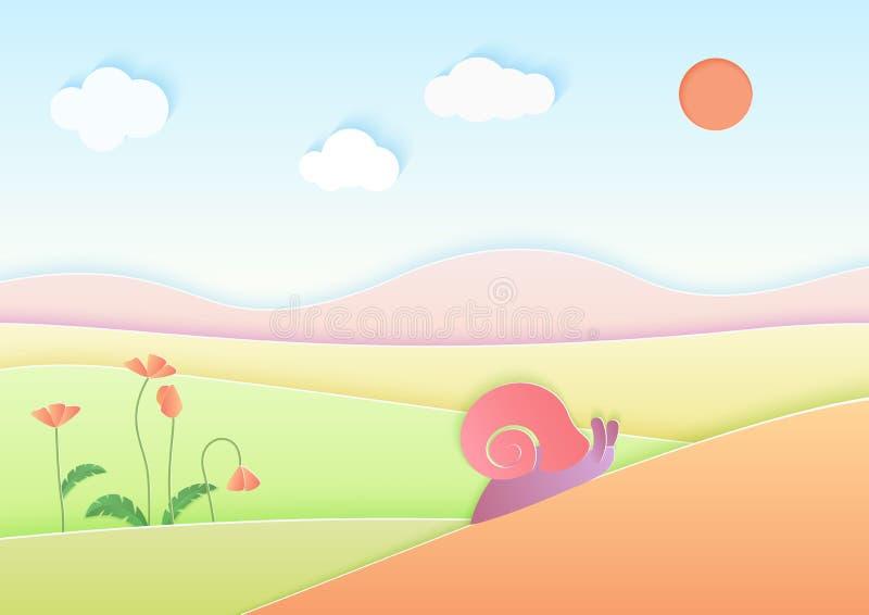 Ультрамодный цвет градиента cuted бумажная предпосылка ландшафта лета с милой иллюстрацией вектора улитки иллюстрация штока