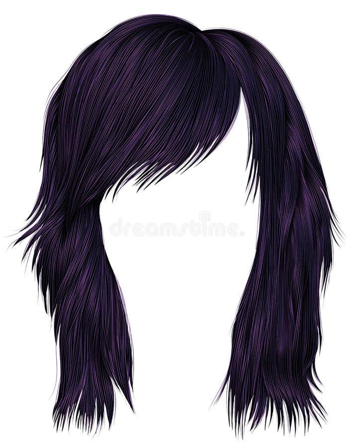 Ультрамодный цвет пурпура волос женщины средств длина Тип красотки иллюстрация штока
