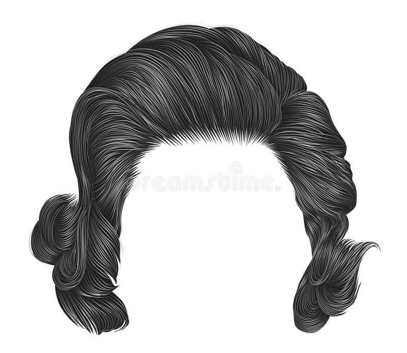 Ультрамодный цвет серого цвета вьющиеся волосы женщины средств длина Тип красотки иллюстрация штока