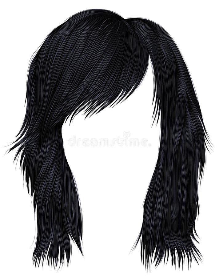 Ультрамодный цвет черноты брюнет волос женщины средств длина залива иллюстрация вектора