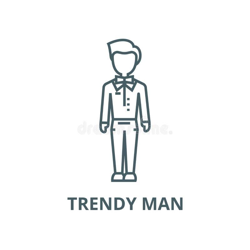 Ультрамодный человек, парень, линия значок вектора хипстера, линейная концепция, знак плана, символ иллюстрация штока