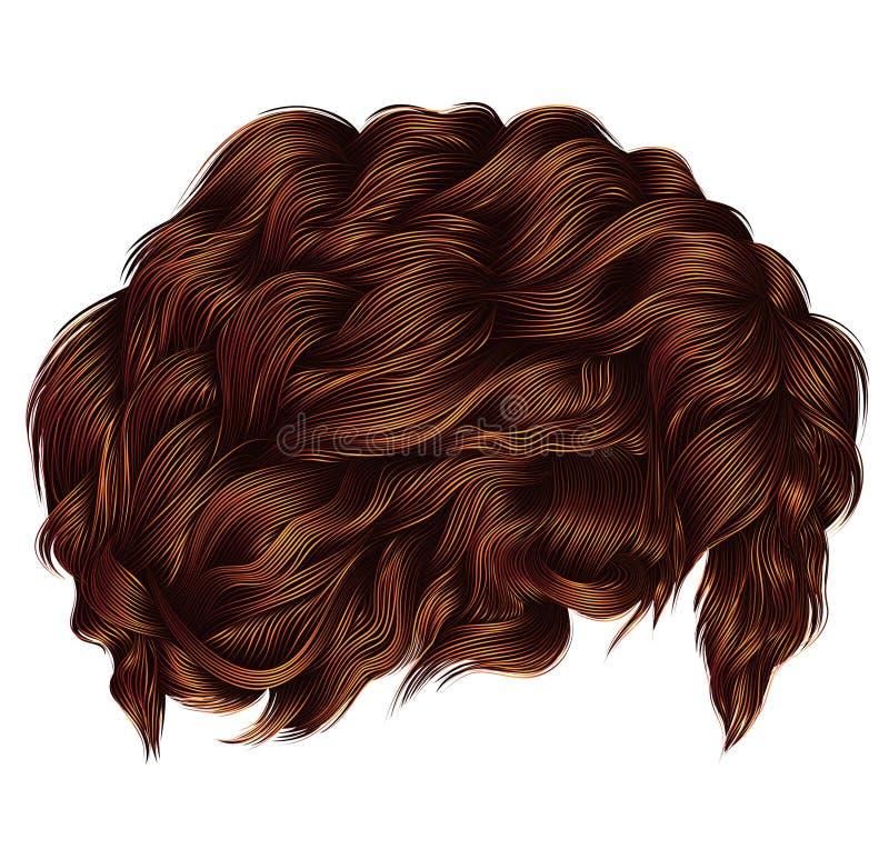 Ультрамодный redhead красного имбиря вьющиеся волосы средств длина Способ иллюстрация вектора